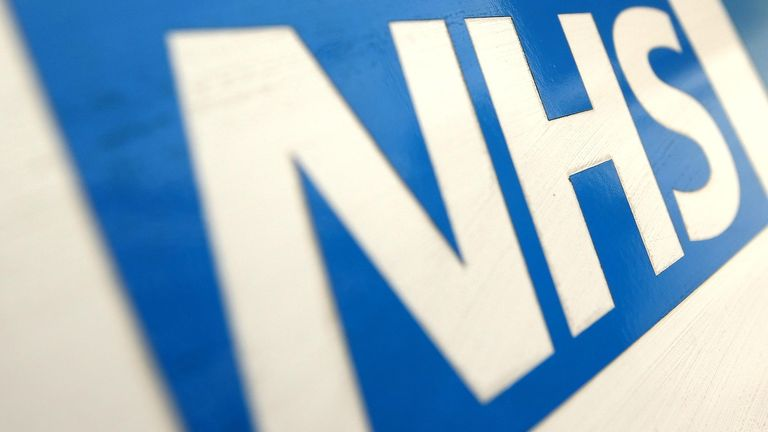 A general view of an NHS logo