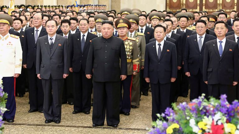 Pictures marking the day's events were provided by the North Korean government