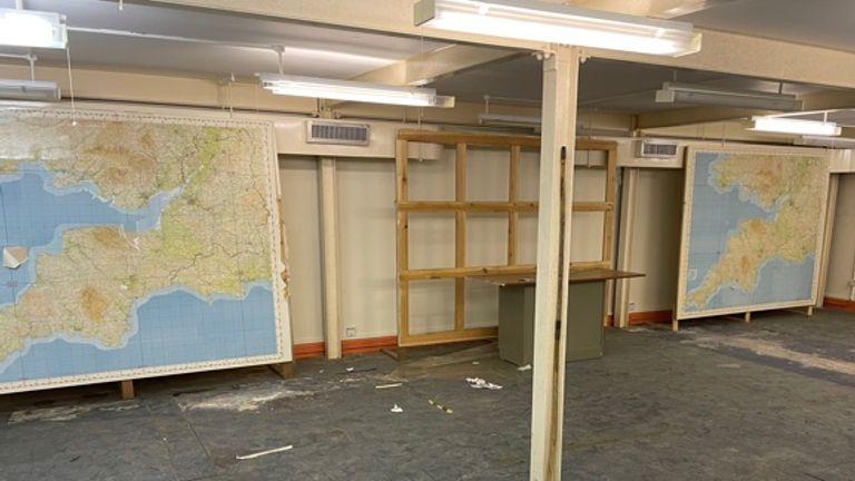 The bunker still contains maps in the old operational room