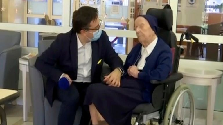Sister Andre - world's second-oldest person - survives COVID. Pic AP
