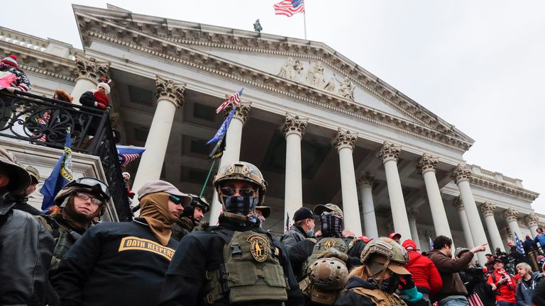 Prosecutors claim some members of the Oath Keepers planned in advance to carry out violence (file pic)
