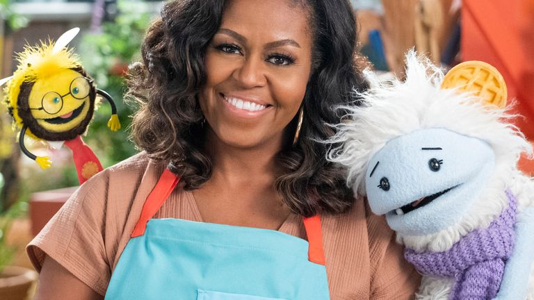 The former first lady tweeted a picture of herself on set. Pic: Twitter/@MichelleObama