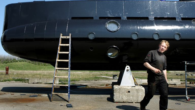 Peter Madsen pictured with his submarine in 2008. Pic: AP