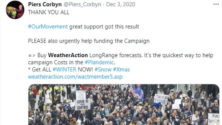 Mr Corbyn has called the current crisis a 'plandemic', suggesting the coronavirus was a planned event. Pic: Twitter/Piers Corbyn