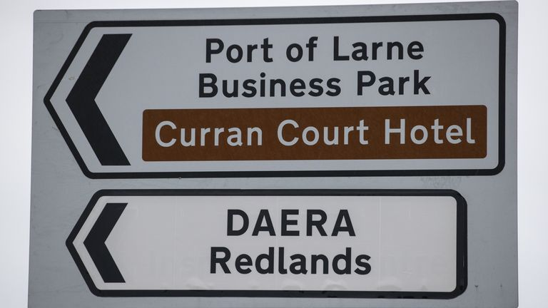 A road sign close to Larne Port for the Department of Agriculture, Environment and Rural Affairs (DAERA) Redlands site. It will be used to inspect animal products travelling from Great Britain into Northern Ireland after the post-Brexit transition period at the end of the year.