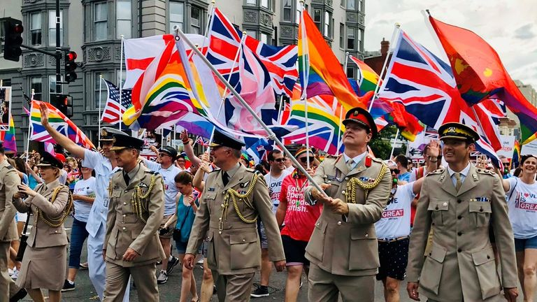 Today, the British military is free - and encouraged - to support its LGBT colleagues - as this photo of UK troops marching in Pride in Washington DC shows Photo: Claire Bates