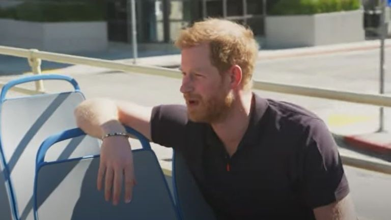 Prince Harry has given an interview to James Corden while touring LA on a double decker bus. Pic: YouTube