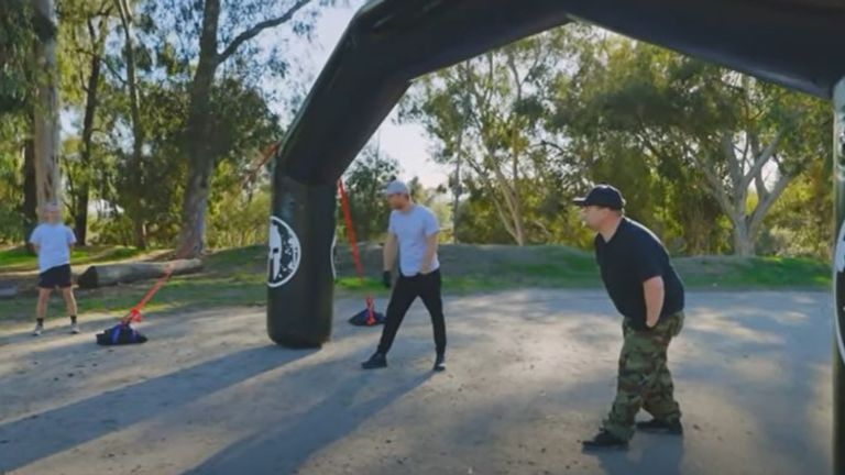 Prince Harry and James Corden competed against each other in an obstacle course at the end of the interview