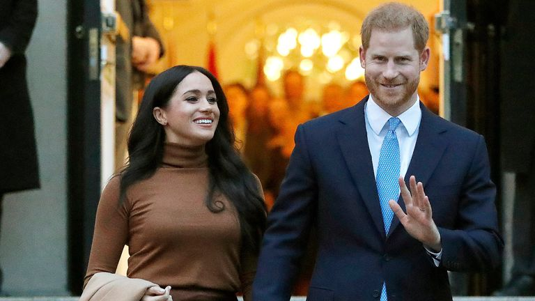 Prince Harry and Meghan pictured in London in January 2020: Photo: AP