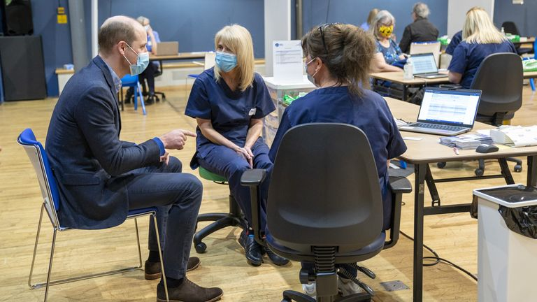 The Duke of Cambridge speaks to member of staff during his visit to the King's Lynn Corn Exchange Vaccination Centre in King's Lynn, Norfolk, where he paid tribute to the efforts of staff administering the Covid-19 vaccine. Picture date: Monday February 22, 2021.