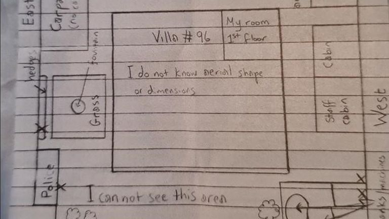 A map drawn by the princess shows where her 'jail' villa is located in Dubai