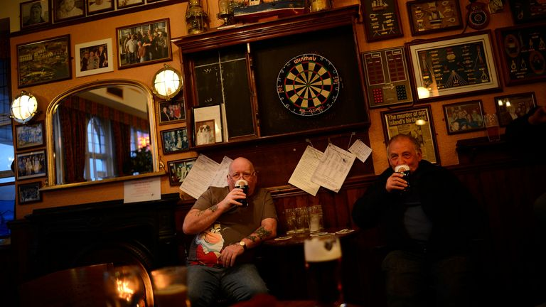 Indoor drinking in pubs could be allowed again in May (file pic)
