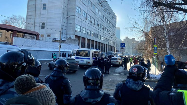 Riot police blocked all nearby streets