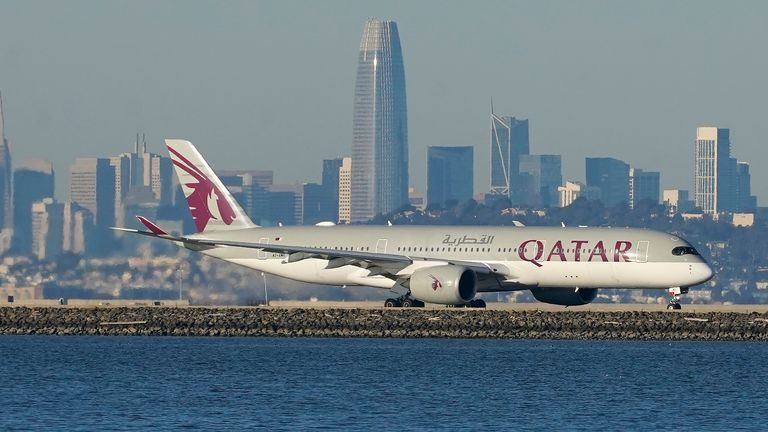 A Qatar Airways plane prepares to take off at San Francisco International Airport. Pic: AP