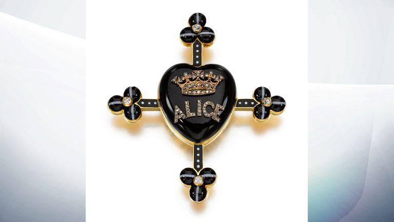 Hardstone, enamel and diamond memorial pendant, Robert Phillips, circa 1878 (est. £2,000-3,000). Pic: Sotheby's