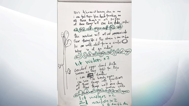 Undated handout photo of sketchpad used by Radiohead to carve out ideas for their second album 'The Bends'. The sketchpad, which could fetch over £10,000, will be sold at Omega Auctions in their Music Memorabilia sale on February 23. Issue date: Tuesday February 16, 2021.