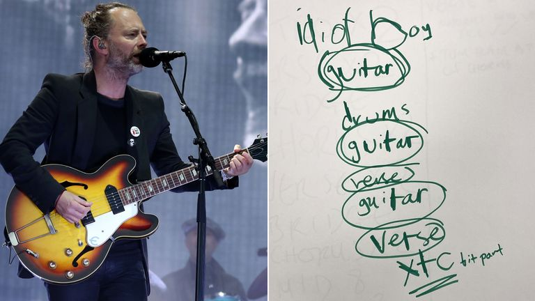 File photo dated 07/07/17 of Thom Yorke from Radiohead performing on the main stage at TRNSMT festival in Glasgow. A sketchpad used by Radiohead to carve out ideas for their second album 'The Bends' could fetch over ....10,000, when it is sold at Omega Auctions in their Music Memorabilia sale on February 23. Issue date: Tuesday February 16, 2021.