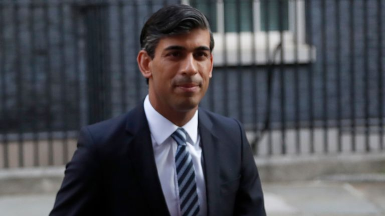 Chancellor of the Exchequer Rishi Sunak walks across Downing Street to a cabinet meeting in London on 15 September 2020. Pic: AP