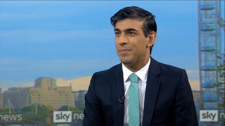 Chancellor Rishi Sunak speaks to Sky's Sophy Ridge