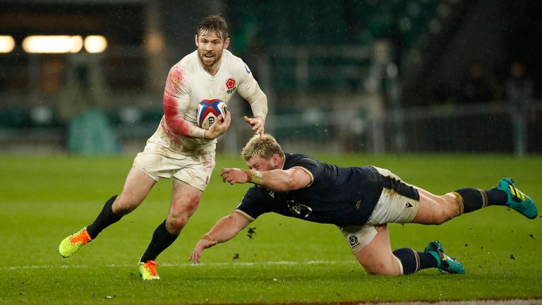 Scotland's Oli Kebble in action with England's Elliot Daly