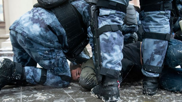 More than 5,400 people were detained across the country yesterday. Pic: AP