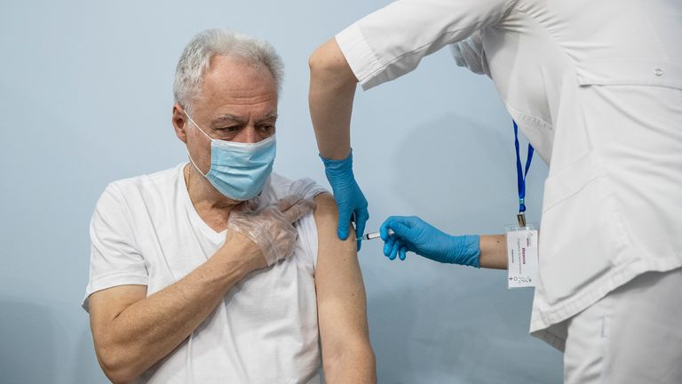 A patient receives a Sputnik V coronavirus vaccine in Moscow. Pic: AP