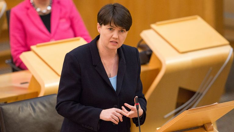 Ruth Davidson attending First Minister's Questions at the Scottish Parliament, Edinburgh