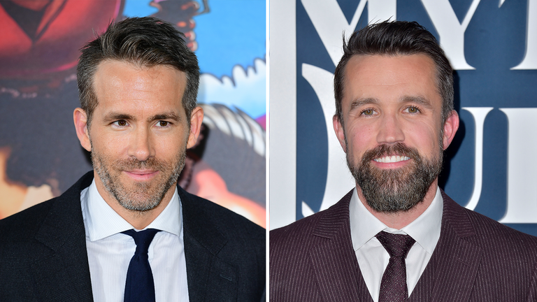 Ryan Reynolds and Rob McElhenney had completed their takeover of Wrexham. Pics: PA and Dave Starbuck/picture-alliance/dpa/AP Images