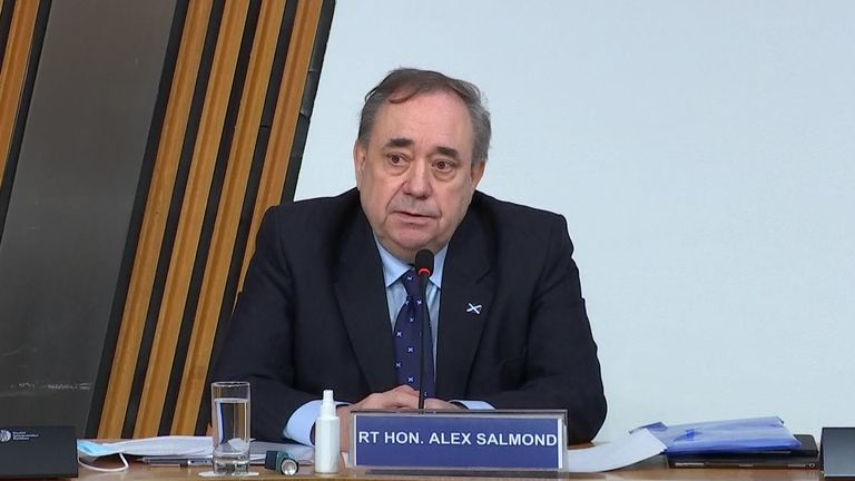 Former First Minister Alex Salmond has appeared at an enquiry into the Scottish government's investigation into harassment claims into him.