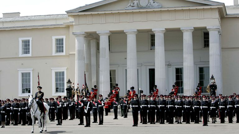 Sandhurst Royal Military Academy Parade for Presentation of New Colours.  Officer cadets on parade included Prince Harry..21 June, 2005...Photo:  Anwar Hussein Collection *** Local Caption *** Prince Harry