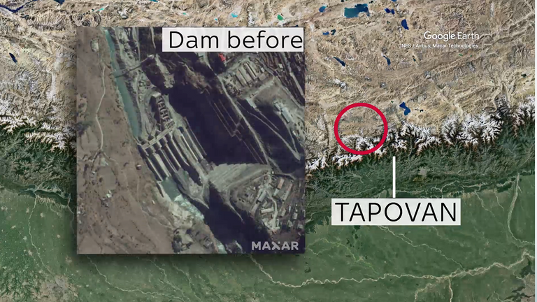 This satellite image shows the Tapovan dam in 2018.  Credit: