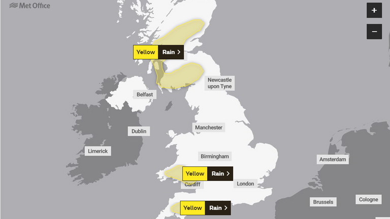 Friday's weather warnings