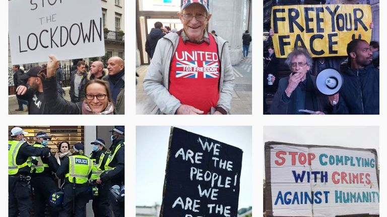 Save Our Rights' Instagram shares pictures from protests, including an image of Mr Corbyn at a rally and Ms Creffield surrounded by police. Pic: Instagram/SaveOurRights