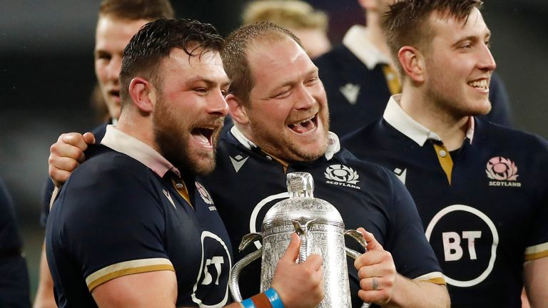 Scotland's WP Nel and Rory Sutherland celebrate with the Calcutta Cup