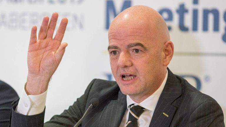 Ian Maxwell Scottish FA Chief Executive, Gianni Infantino FIFA President during the 133rd Annual General Meeting of The IFAB in Aberdeen.