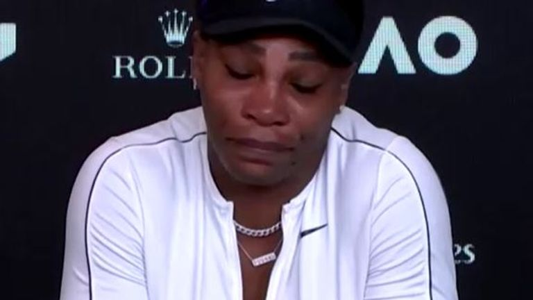 Serena was in tears as she answered questions after the match