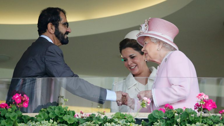 The sheikh joins the Queen in the royal box at Ascot annually