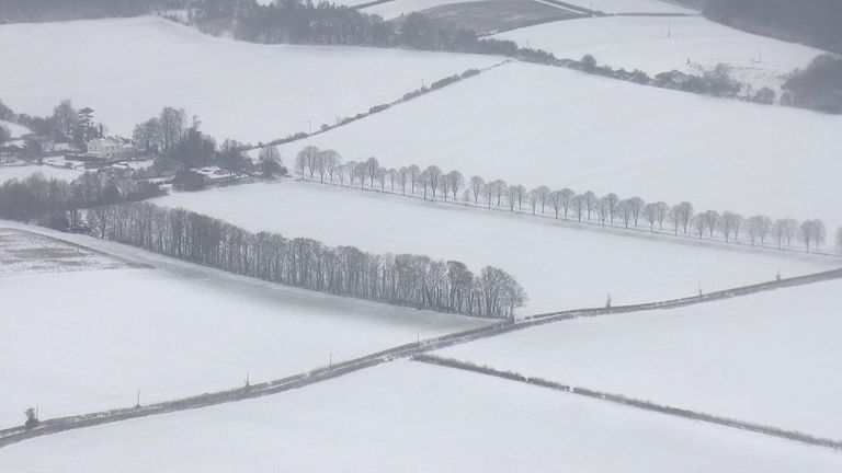 Snow over southeast England