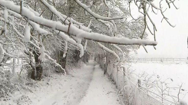 Heavy snow has fallen in Lydden, Kent