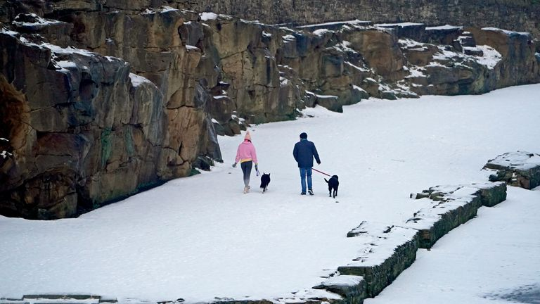 More snow fell overnight near Cullercoats on the north east coast