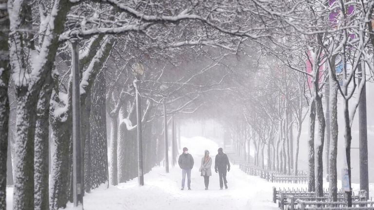 Snow-covered Grant Park in Chicago, Illinois. Pic: AP