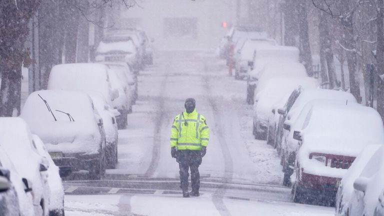 Weehawken, New Jersey is seen covered in White on Monday. Pic: AP