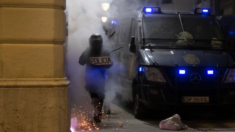 Violent protests i Barcelona entered a sixth night on Sunday. Pic: AP