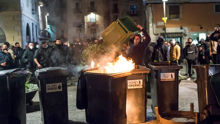 Protesters have set bins on fire across the country