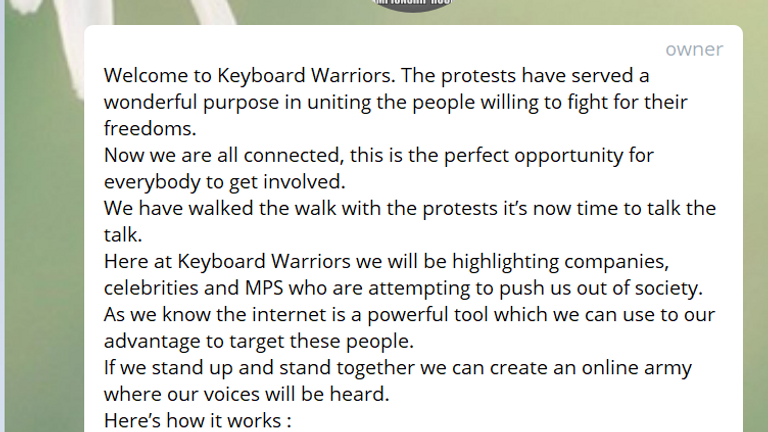 An 'online army' has gathered to write messages to companies whose COVID-policies they disagree with. Pic: Telegram