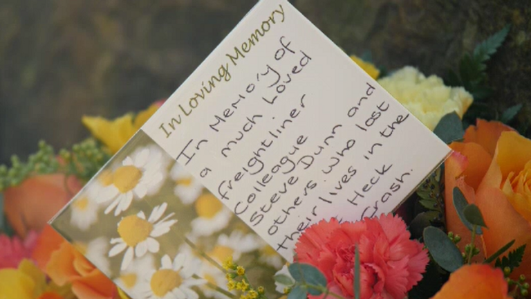 Flowers left in tribute for Selby train crash victim Steve Dunn on the 20th anniversary of the tragedy