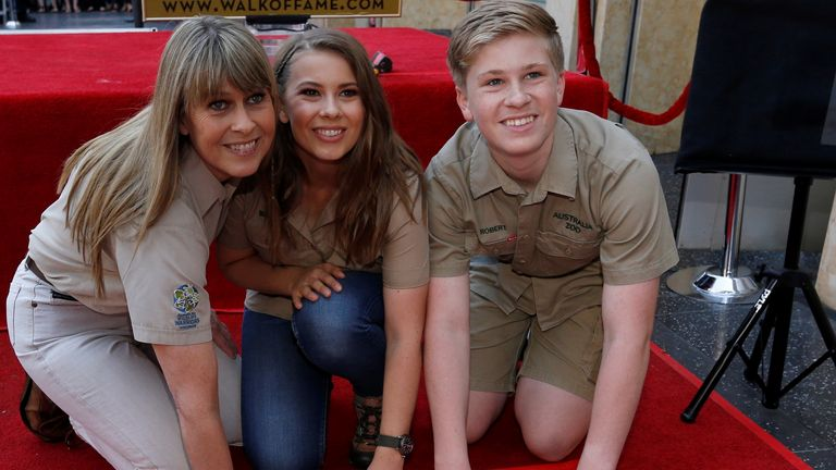 Terri Irwin, wife of late Steve Irwin, and Bindi and Robert Irwin pose during the posthumous unveiling of a star for television personality and nature enthusiast Steve Irwin on the Hollywood Walk of Fame in Los Angeles in 2018