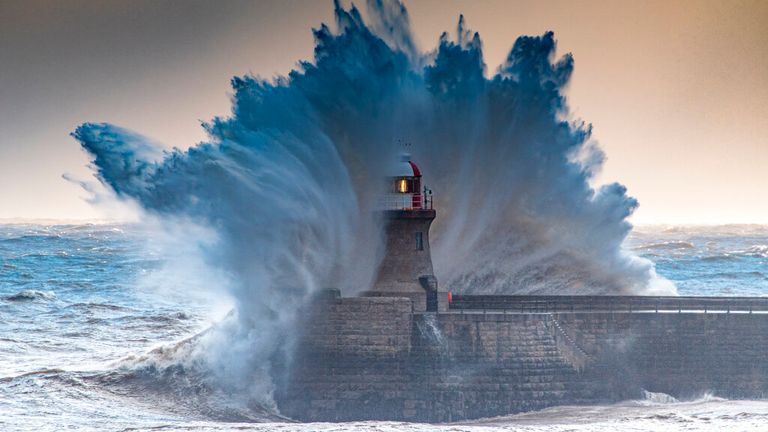 ..Storm Darcy Waves, South Shields Pier, Tyne and Wear, UK   ** STORY AVAILABLE, CONTACT SUPPLIER**