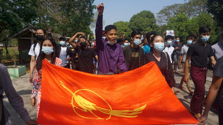 Students from Dagon University in Yangon protest against the military coup