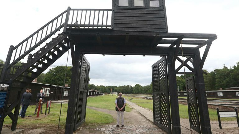 The main gate leading into the former Nazi concentration camp at Stutthof. Pic: AP